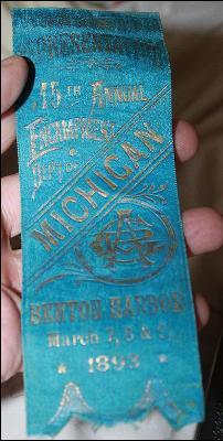 1893 Michigan 15th Benton Harbor Encampment Civil War Union Vetern's Represenitive Ribbon