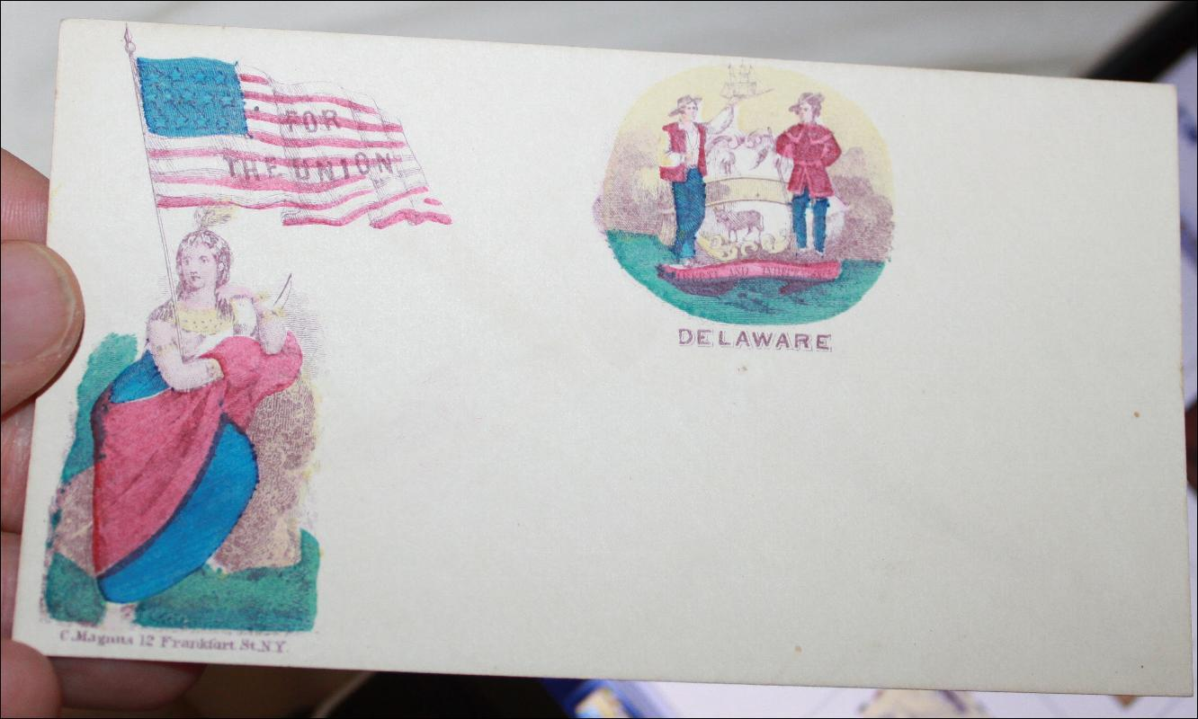 C. Magans Delaware for the Union Hand Colored Envelope with State Seal