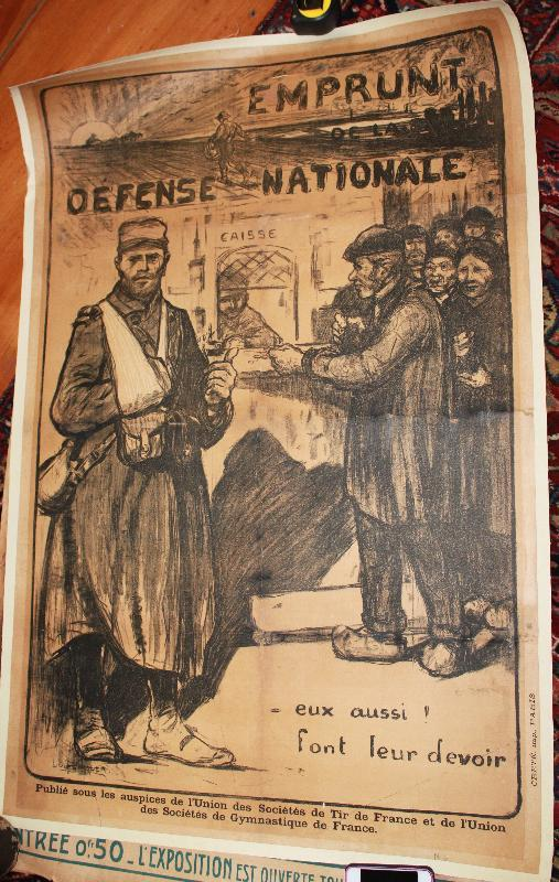WWI 1915 Poster French Emprunt Defense Nationale Jules Adler artist
