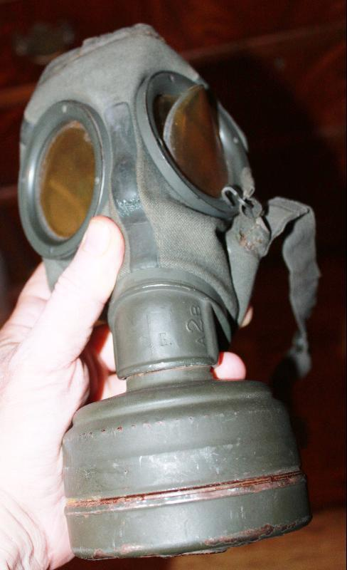 WWII German Gas Mask in Cannister 1944/3 with Soldiers name