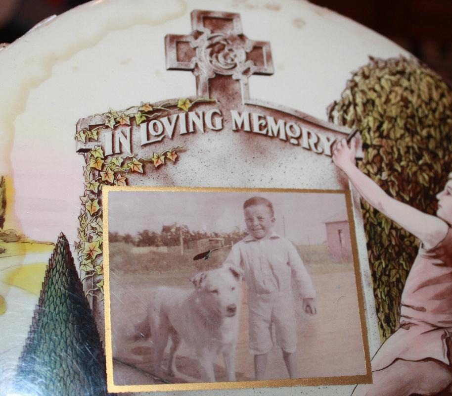 Mourning Circular Cellulose Placque for boy & his dog late 1800's RB Schiefner