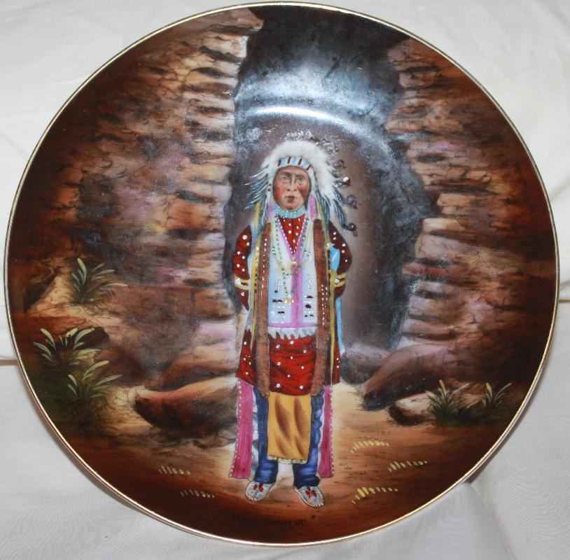 Hand Painted Tirschenreuth Indian Portrait Plate Grosby's Indian Store Manitou CO 1900