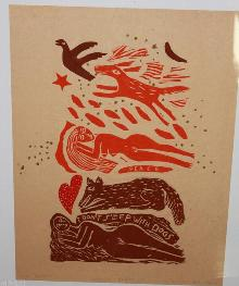 Sleeping Beauty Larson Dogs Asleep Woodblock Art Proof