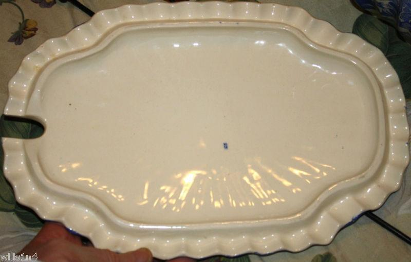 Copeland Willowware Blue White Soup Sauce Tureen 1800s Scalloped