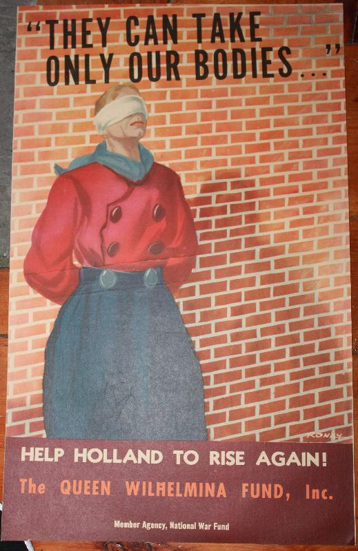 WWII Poster Hollan soldier blinfolded for firing squad