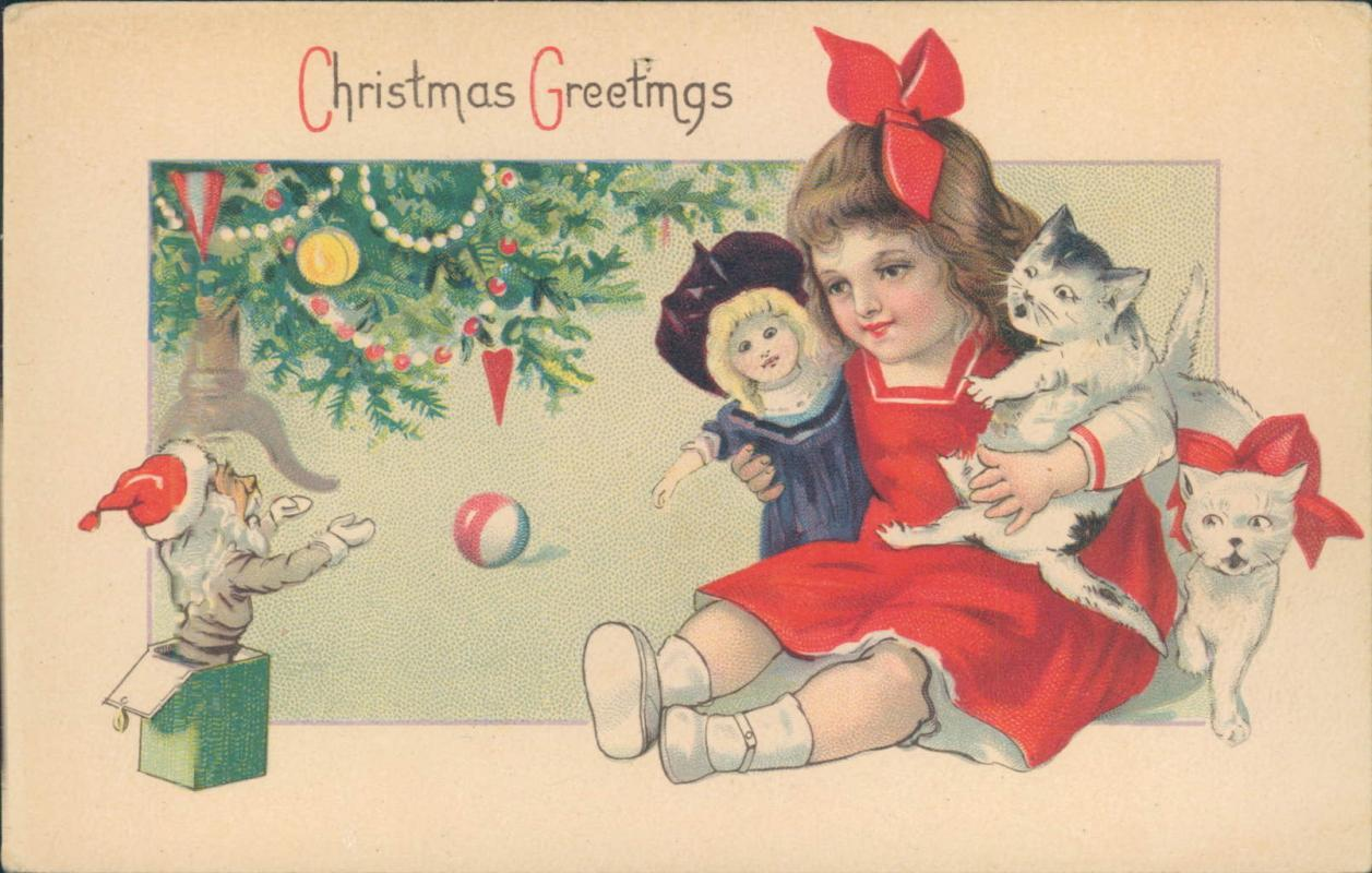 Vintage Christmas Greetings postcard, little girl with doll and cats