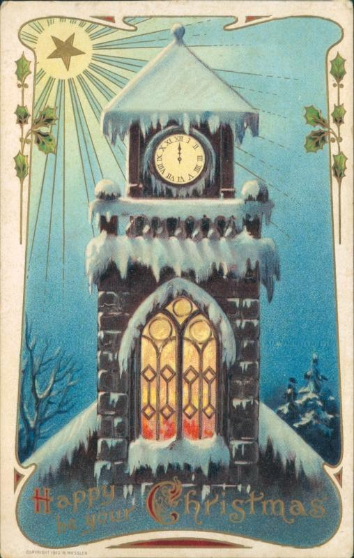 Christmas embossed postcard, H. Wessler, 1910