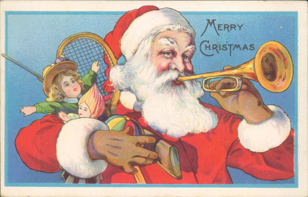 Vintage Christmas postcard, Santa with trumpet