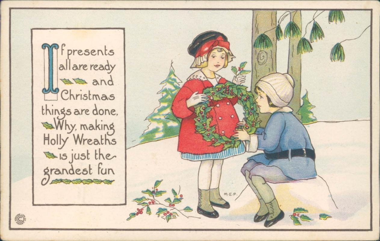 Vintage Christmas postcard, two children and holly wreath,  Margaret E Price, Stecher Lithographic Co.