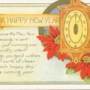 Vintage New Year postcard, clock and poinsettias, Whitney Made Worcester, Mass, unused