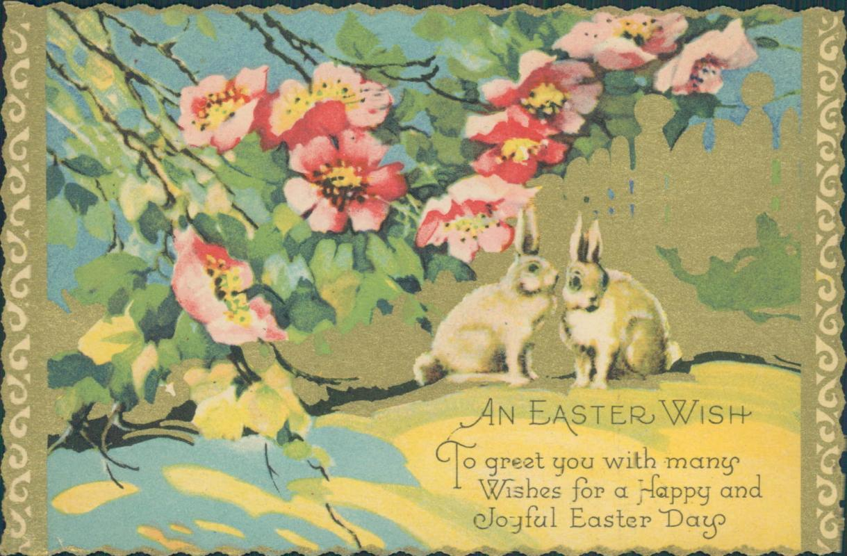 Vintage Easter postcard, two bunnies and flowers, postmarked 1932