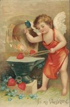 Vintage embossed Valentine postcard, cupid hammer hearts, International Art Pub. Co.