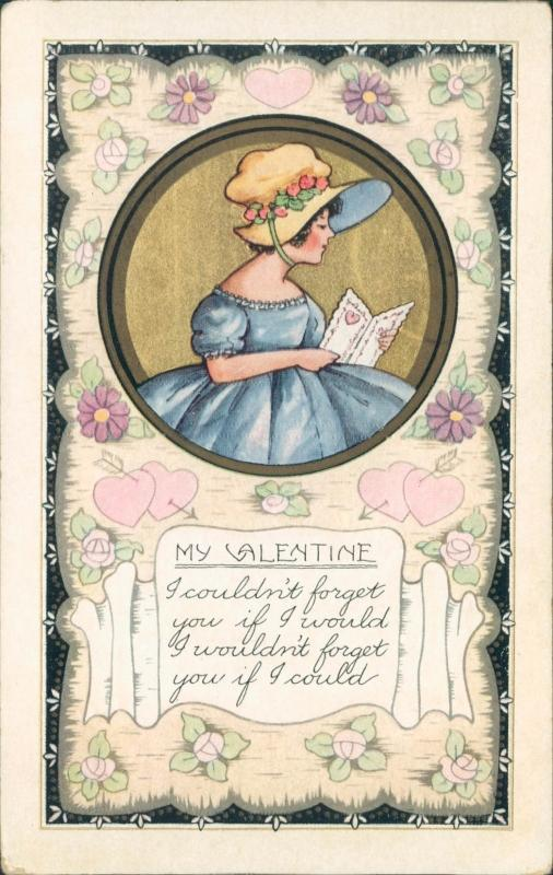 Vintage Valentine postcard, female with card, Whitney Made Worcester Mass
