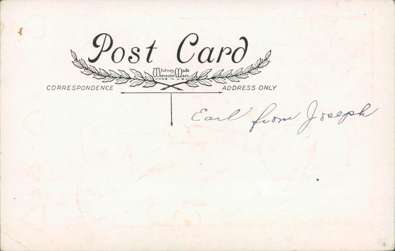Vintage embossed Valentines postcard,  little boy with candy and flowers, Whitney Made Worcester Mass