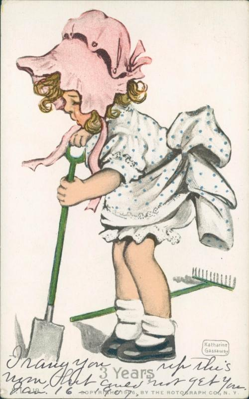 Gassaway vintage postcard, little girl pink hat 1906 Rotograph Co (3 years)