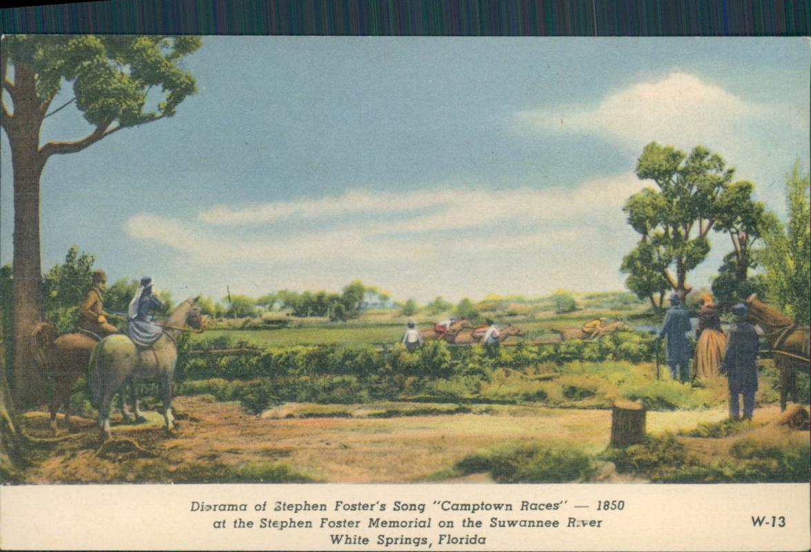 Vintage postcard, Diorama of Stephen Foster's Camptwon Races