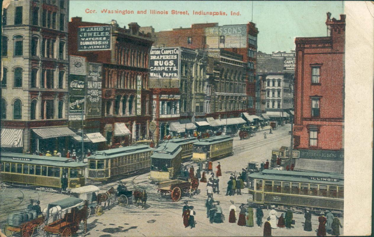 Vintage postcard, Indianapolis, Washington and Illinois stree, postmarked 1907