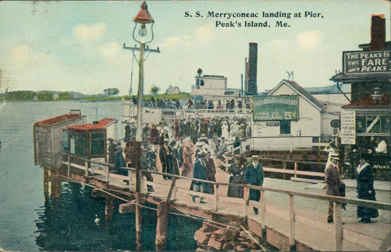 Vintage postcard, S.S. Merryconeac landing At Peak's Island, postmarked 1914
