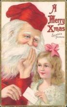 Vintage embossed postcard, Santa's promise, Stecher Lithograph Co.
