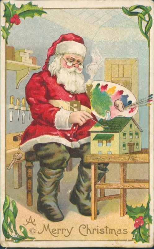 Vintage Christmas postcard, Santa painting, Stecher Lithograph Co.
