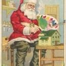 Vintage Christmas postcard, Santa painting, Stecher Lithograph Co.