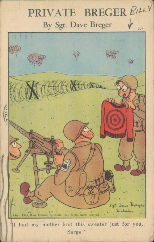 Vintage postcard, Private Breger, military cartoon, 1943