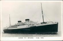 Vintage real photo postcard, Cunard M.V. Britannic, Casablanca, 1959