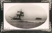 Vintage embossed framed postcard, Ship Jason