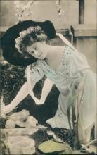 Vintage postcard, Real photo tinted lady,  Papier Radium Brom