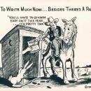 Vintage 1945 Petley cartoon postcard, no. 12, paper shortage