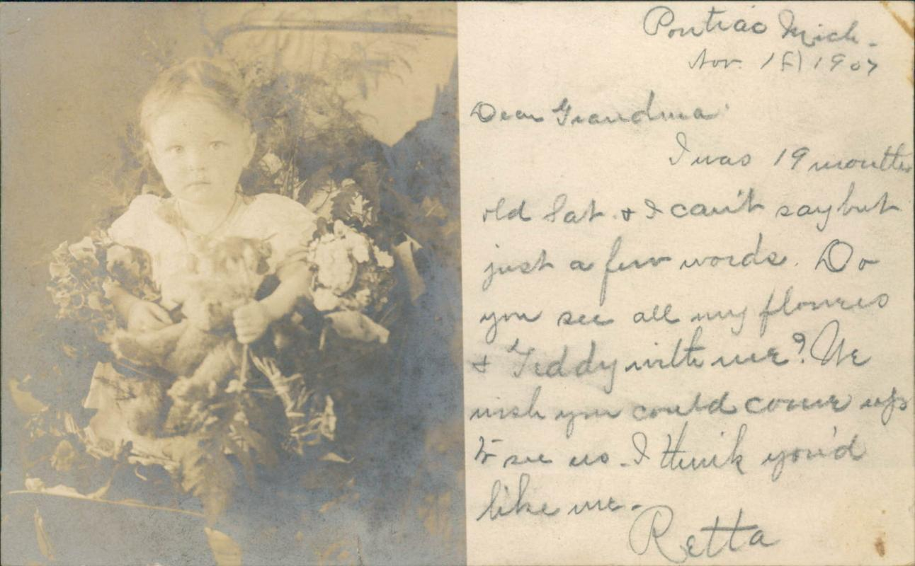 Vintage real personal photo postcard, 1907, baby