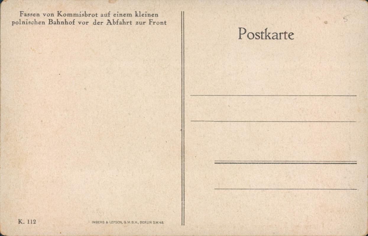 Vintage postcard, German military, WW1, Imberg & Lefson, Berlin
