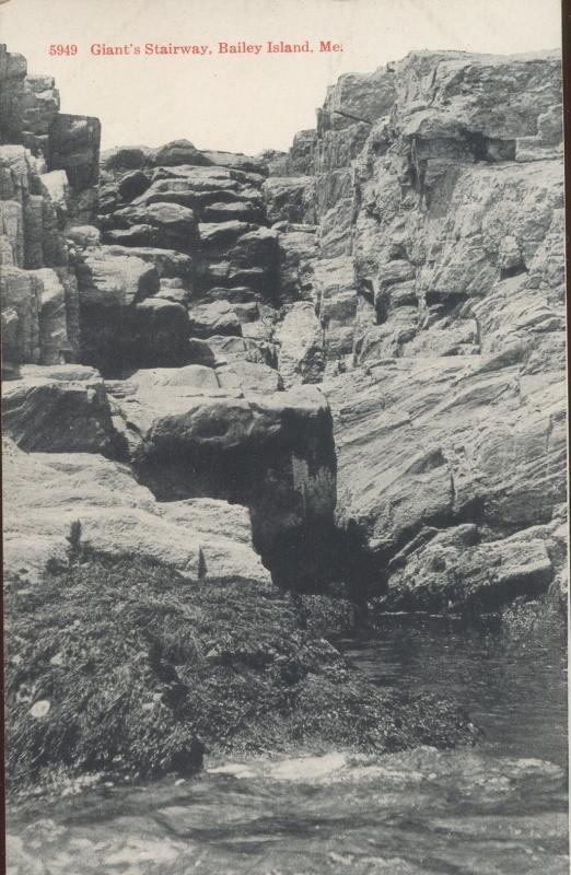 Brooklyn Postcard Company Giant's Stairway Baily Island Maine Postcard 1917 #5949