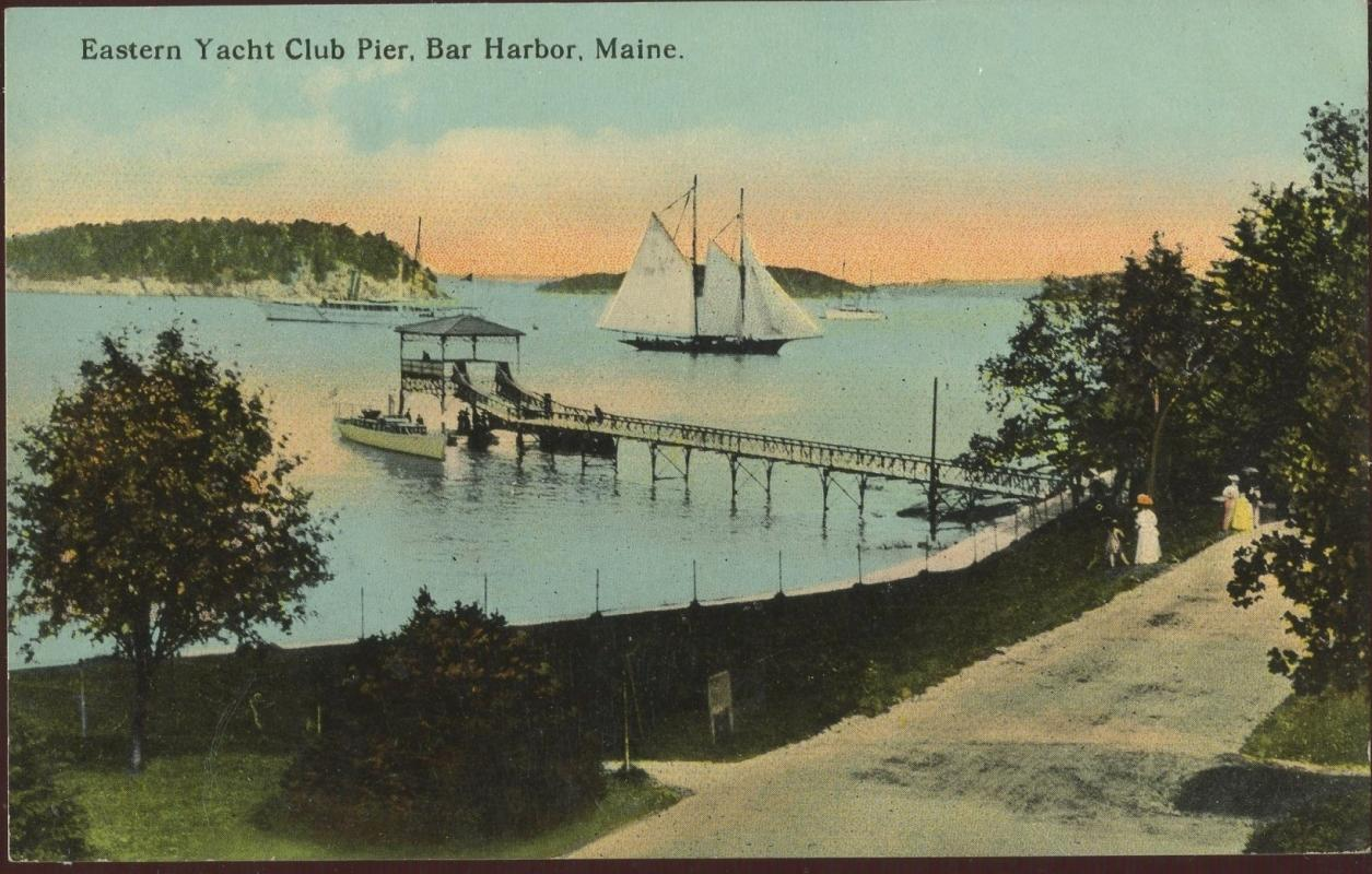 Eastern Yacht Club Bar Harbor Maine Pier Postcard