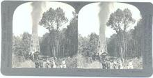 A GREAT STEREOVIEW   -   SHOOTING AN OIL WELL IN PENNSYLVANIA