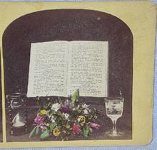 COLOR STEREOVIEW -  BIBLE & FLOWERS