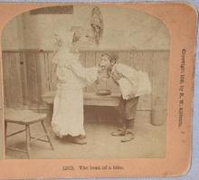 STEREOVIEW -  BOY & GIRL EATING AN APPLE