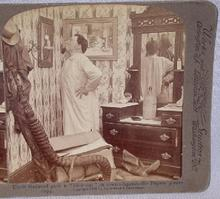 STEREOVIEW -   VICTORIAN MAN IN BEDROOM