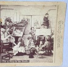 STEREOVIEW - YOUNG CHILDREN IN ART STUDIO