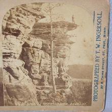 STEREOVIEW - SIGNAL ROCK - CAMP DOUGLAS