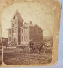 STEREOVIEW - HORSE & BUGGY IN FRONT CLARION PENNSYLVANIA SCHOOL
