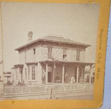OLD STEREOVIEW -  RESIDENCE OF GEORGE BOWERS - MICHIGAN