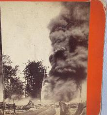 UNUSUAL STEREOVIEW  -  OIL WELL FIRE