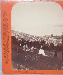 CHARLES BIERSTADT STEREOVIEW  -  SENECA LAKE & WATKINS GLEN
