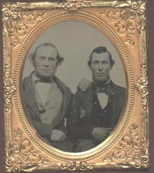 RUBY GLASS AMBROTYPE OF TWO MEN  -  MORE THAN JUST FRIENDS??