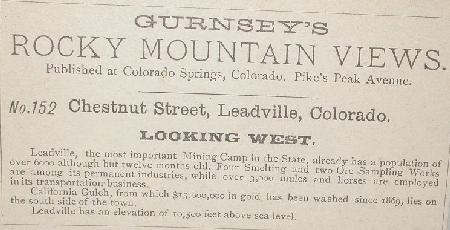 OUTSTANDING GURNSEY STEREOVIEW - LEADVILLE COLORADO