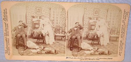 COMICAL STEREOVIEW - VICTORIAN COUPLE IN THE PARLOR