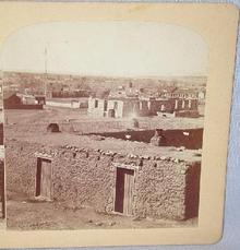 GURNSEY  - STEREOVIEW -  ADOBE HOUSES IN SANTE FE,  NEW MEXICO