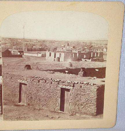 GURNSEY  - STEREOVIEW -  ADOBE HOUSES IN SANTE FE,  NEW MEXICO