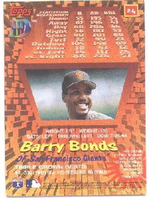 BARRY BONDS - 2002 MVP - 3D BASEBALL CARD!!